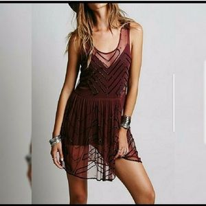Free People Sheer Beaded Sequin Slip Dress